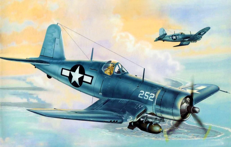 airplane, painting, ww2, F4U Corsair