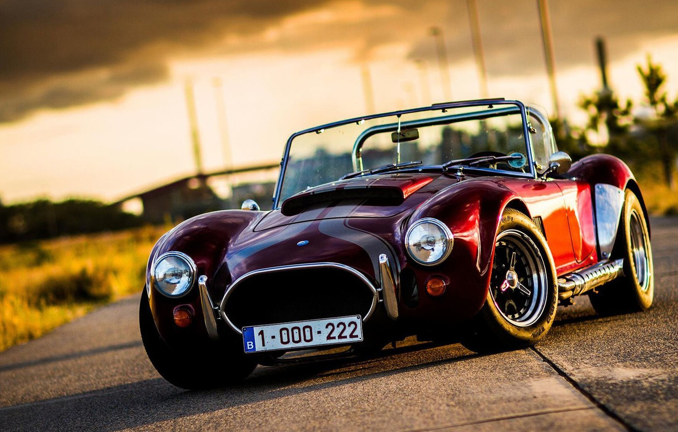 Photo wallpaper car, red, ford, shelby, cobra