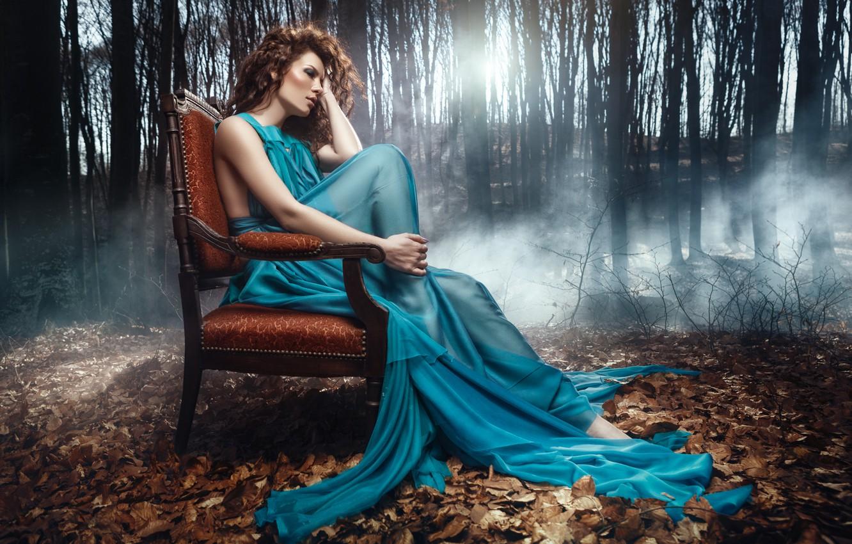 Photo wallpaper autumn, forest, girl, chair, dress, brown hair, Daniel Ilinca