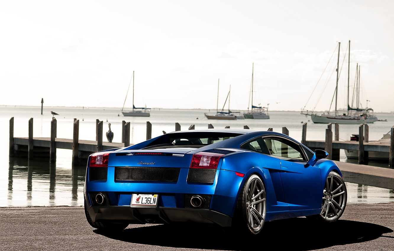 Photo wallpaper the sky, blue, yachts, Lamborghini, pier, Gallardo, Lamborghini, blue, Lamborghini, the rear part, Gallardo