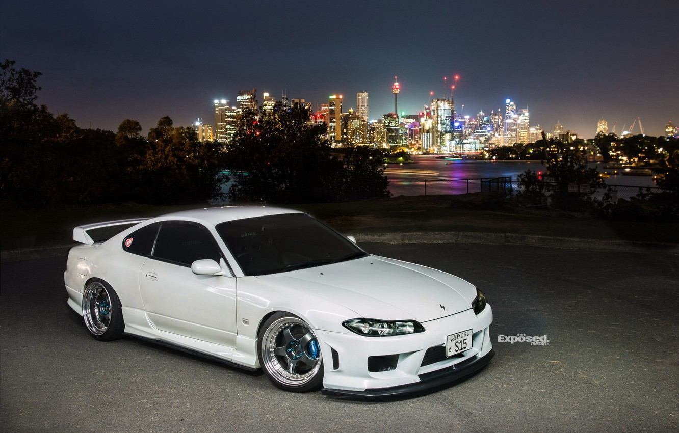 Photo wallpaper nissan, turbo, white, wheels, japan, jdm, tuning, silvia, s15, low, datsun, dapper, low.stance