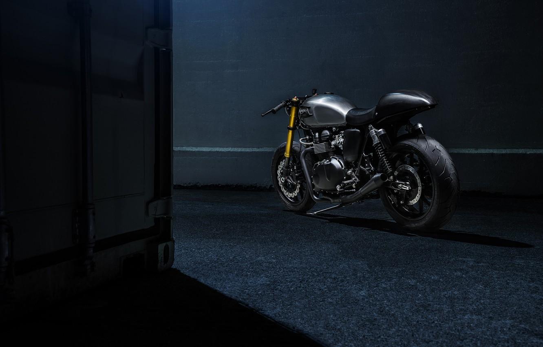 Photo wallpaper Bike, Custom, Triumph, Bonneville, Racer, Rear, Motorcycle, The Bullitt