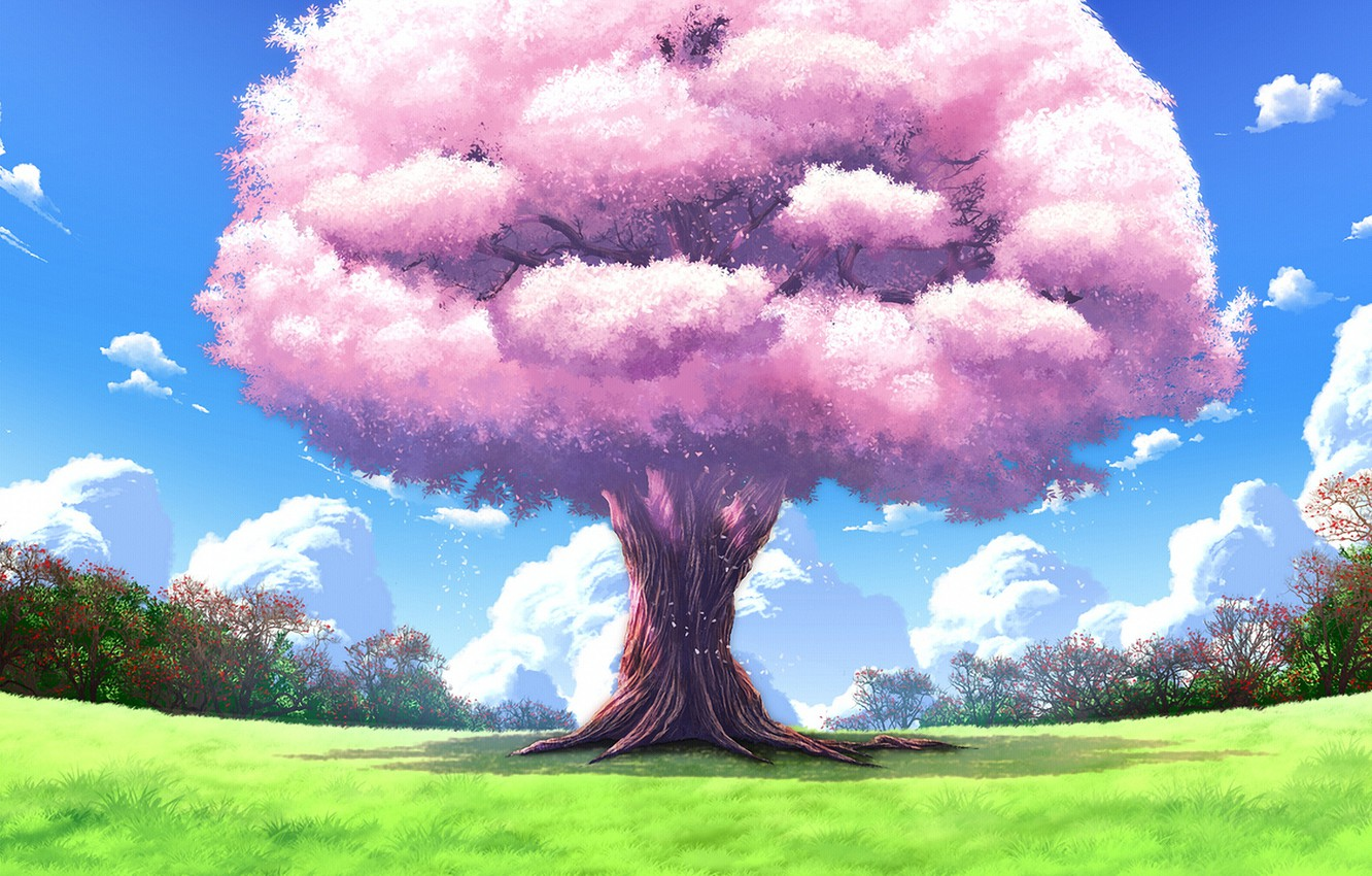 Photo wallpaper nature, tree, landscapes, anime, art, upscale