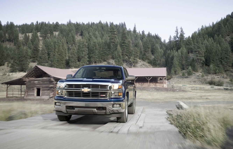 Photo wallpaper Blue, Chevrolet, Forest, Day, Chevrolet, Jeep, Silverado