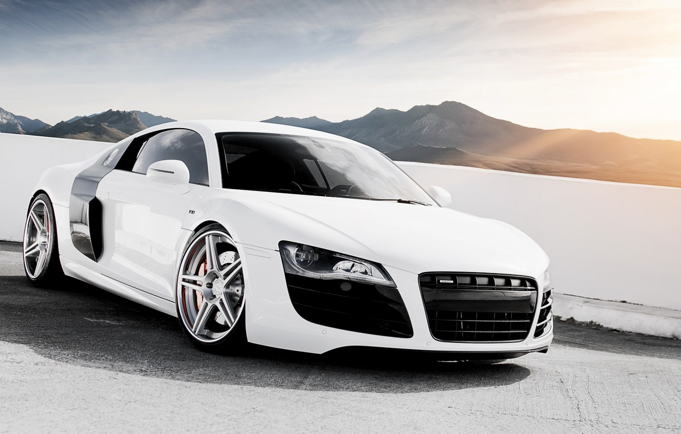 Photo wallpaper white, the sky, mountains, Audi, Audi, tuning, supercar, drives, tuning, the front, V10, B10