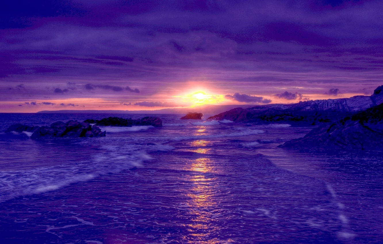 Photo wallpaper sea, the sky, landscape, sunset, shore