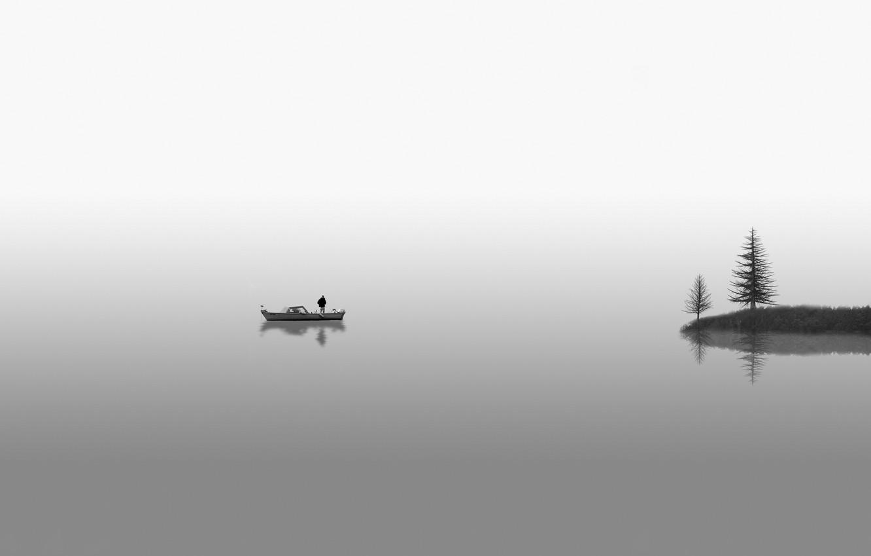 Photo wallpaper lake, tree, boat