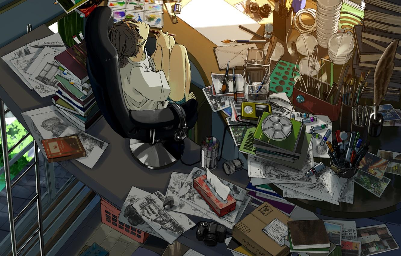 Photo wallpaper cat, girl, smile, room, paint, books, anime, headphones, player, the camera, drawings, art