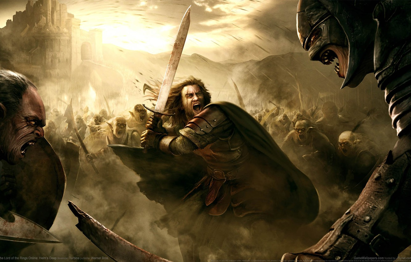 Wallpaper War The Lord Of The Rings Battle Fortress Swords
