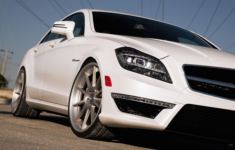 Photo wallpaper white, Mercedes-Benz, white, AMG, the front part, Mercedes Benz, CLS-class, C218, CLS 63