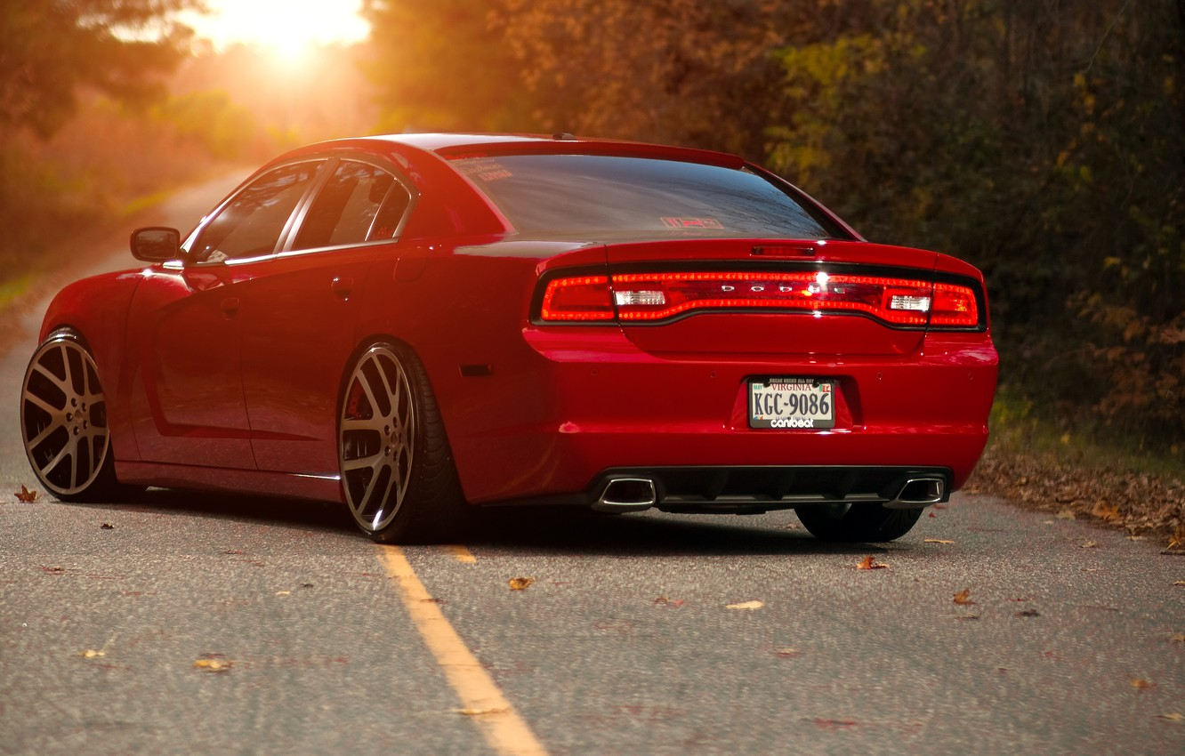 Photo wallpaper the sun, red, red, Dodge, rear view, dodge, charger, the charger, R/T