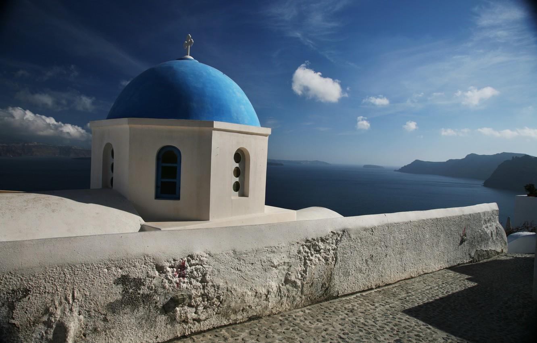 Photo wallpaper sea, the sky, clouds, mountains, Santorini, Church, the dome, Greece, santorini, greece