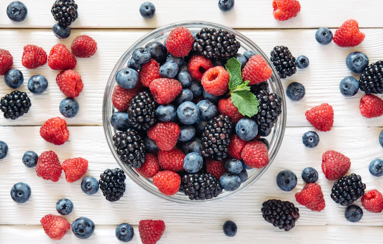 Photo wallpaper Strawberry, Berries, BlackBerry, Food, Raspberry, Blueberries