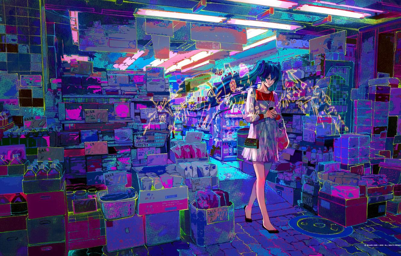 Photo wallpaper the city, street, art, vocaloid, hatsune miku, Vocaloid, shop