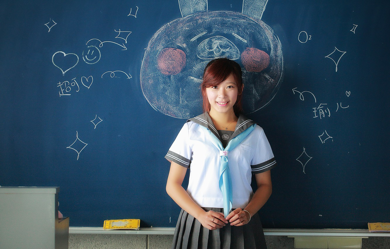Photo wallpaper girl, smile, figure, Board, schoolgirl