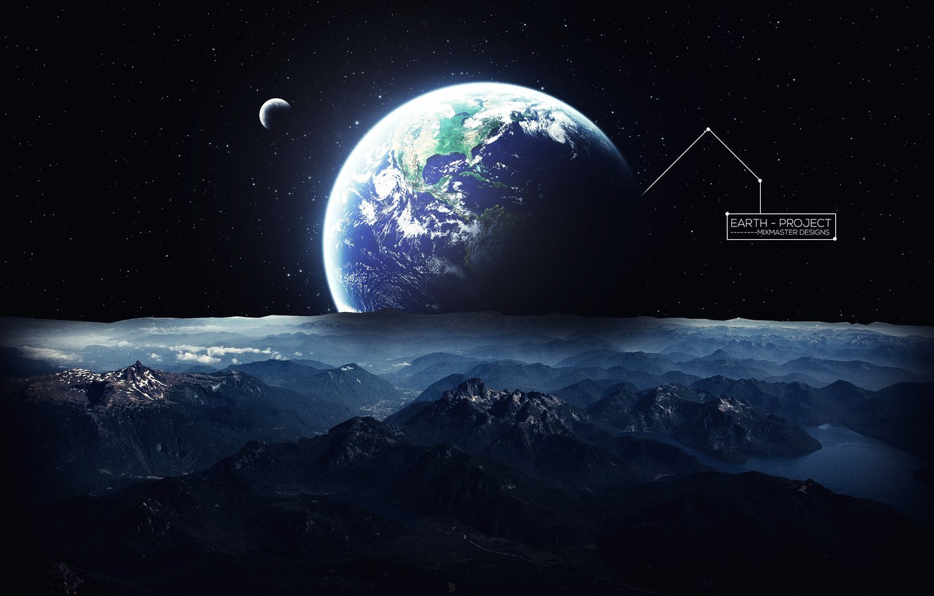Photo wallpaper space, stars, space, earth, planet