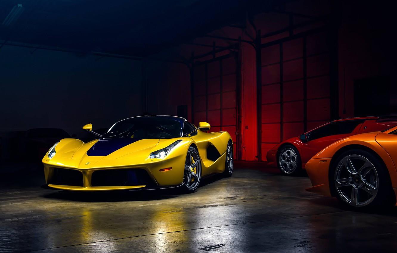 Photo wallpaper Light, Ferrari, Cool, Front, Color, Yellow, Supercar, Garage, LaFerrari