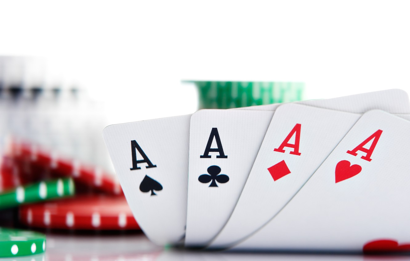 Photo wallpaper card, chips, poker, aces