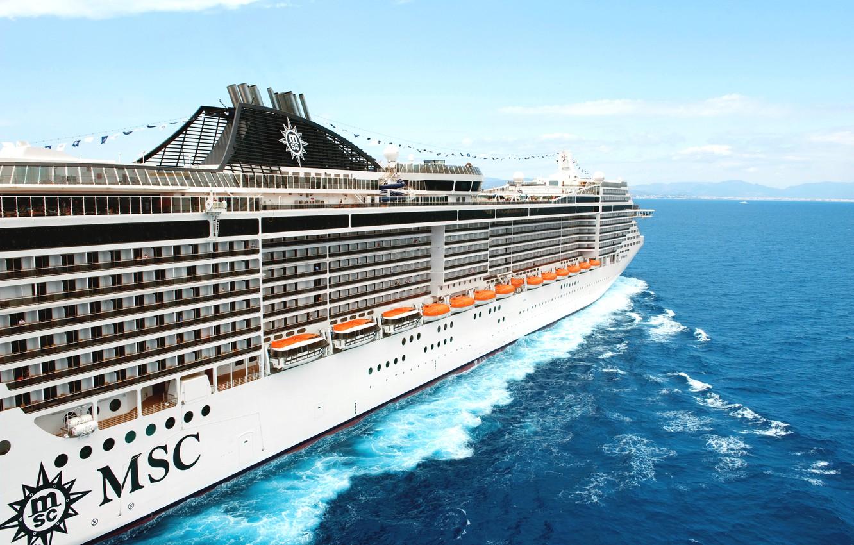 Photo wallpaper Sea, White, Liner, Board, Case, Day, The ship, Passenger, Splendida, MSC, Boat, On The Go, …