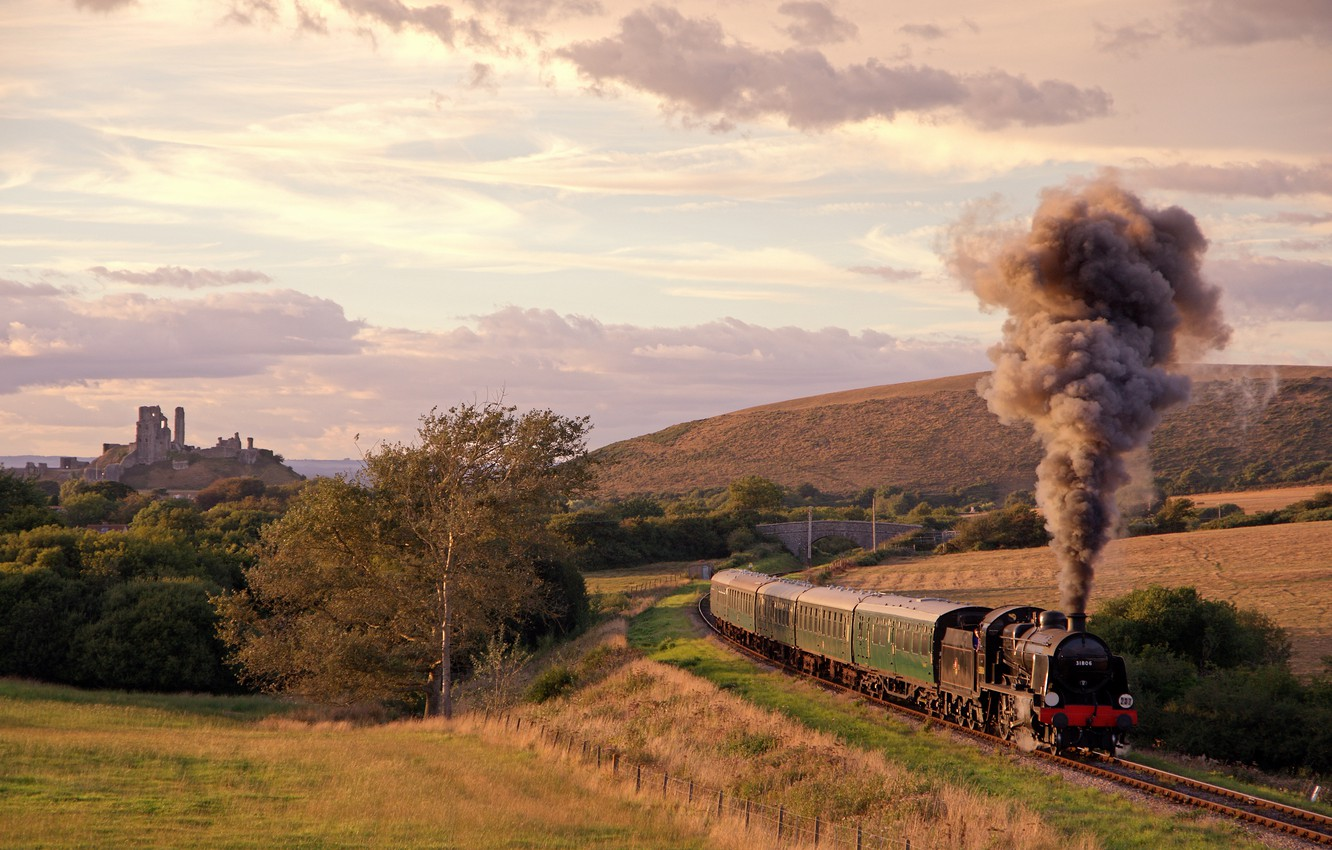 Photo wallpaper the way, smoke, field, train, the engine, cars, railroad, UK, meadows, hill, the ruins of …