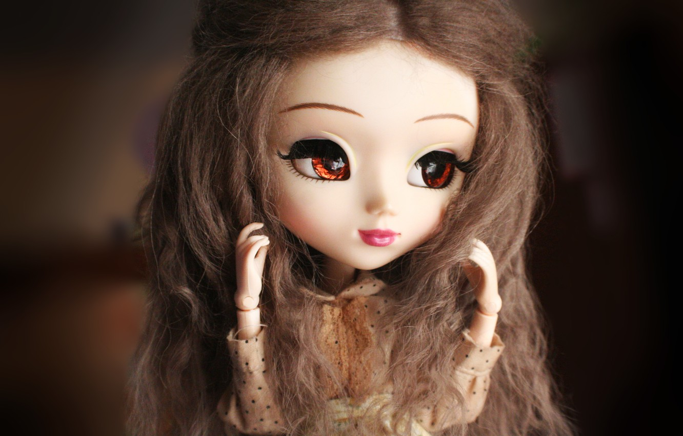 Photo wallpaper eyes, face, doll, large