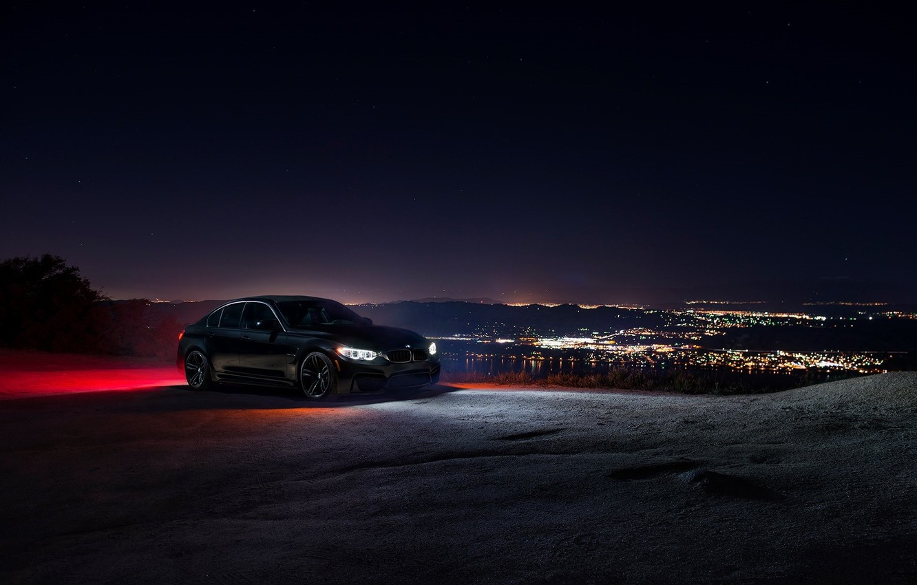 Photo wallpaper BMW, City, Car, Sky, Front, Black, Ligth, Nigth, F80