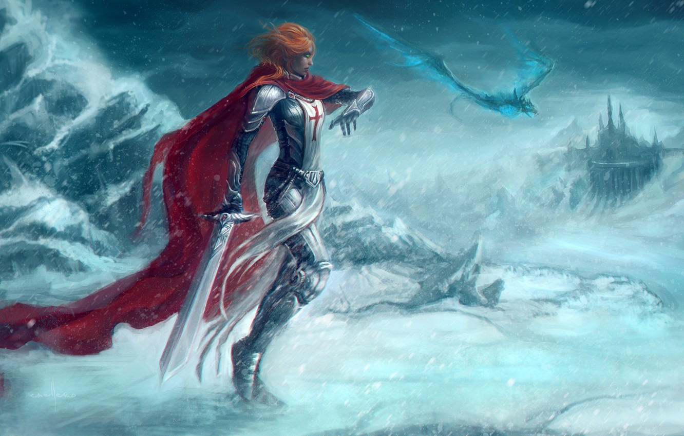 Photo wallpaper cold, road, girl, snow, red, weapons, dragon, sword, art, World of Warcraft, cloak, Crusader