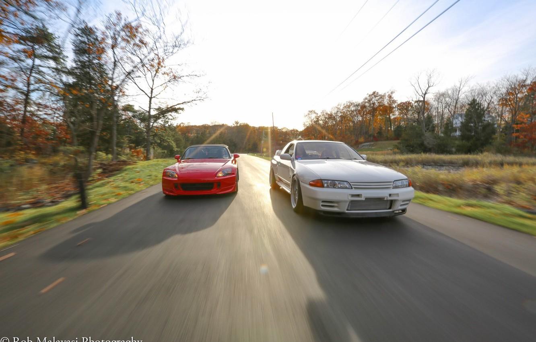 Photo wallpaper road, autumn, forest, nissan, turbo, red, white, honda, skyline, japan, Honda, Nissan, jdm, tuning, r32, …