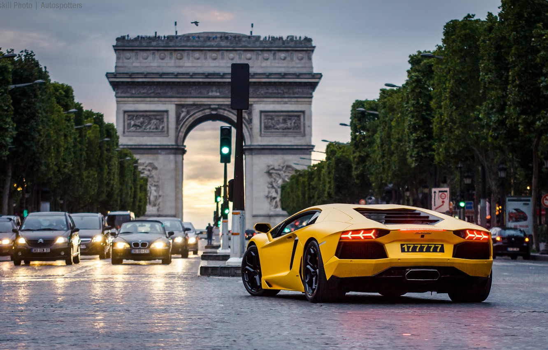 Photo wallpaper Paris, Paris, cars, yellow, night, Lamborghini Aventador