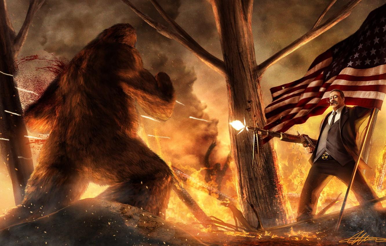 Photo wallpaper squirt, fire, blood, man, Forest, flag, cigar, machine gun, USA, bullets, Yeti