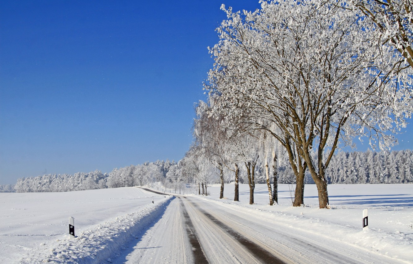 Photo wallpaper winter, frost, road, forest, the sky, snow, trees, frost