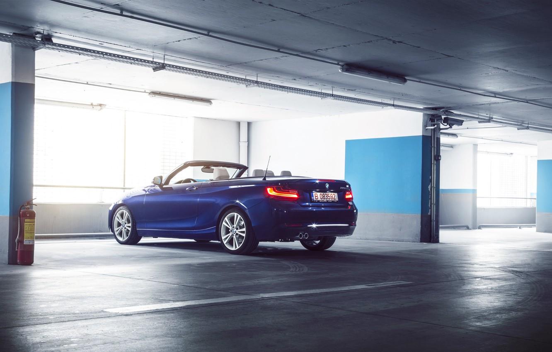 Photo wallpaper BMW, German, Car, Blue, Cabriolet, Garage, Rear, 220D