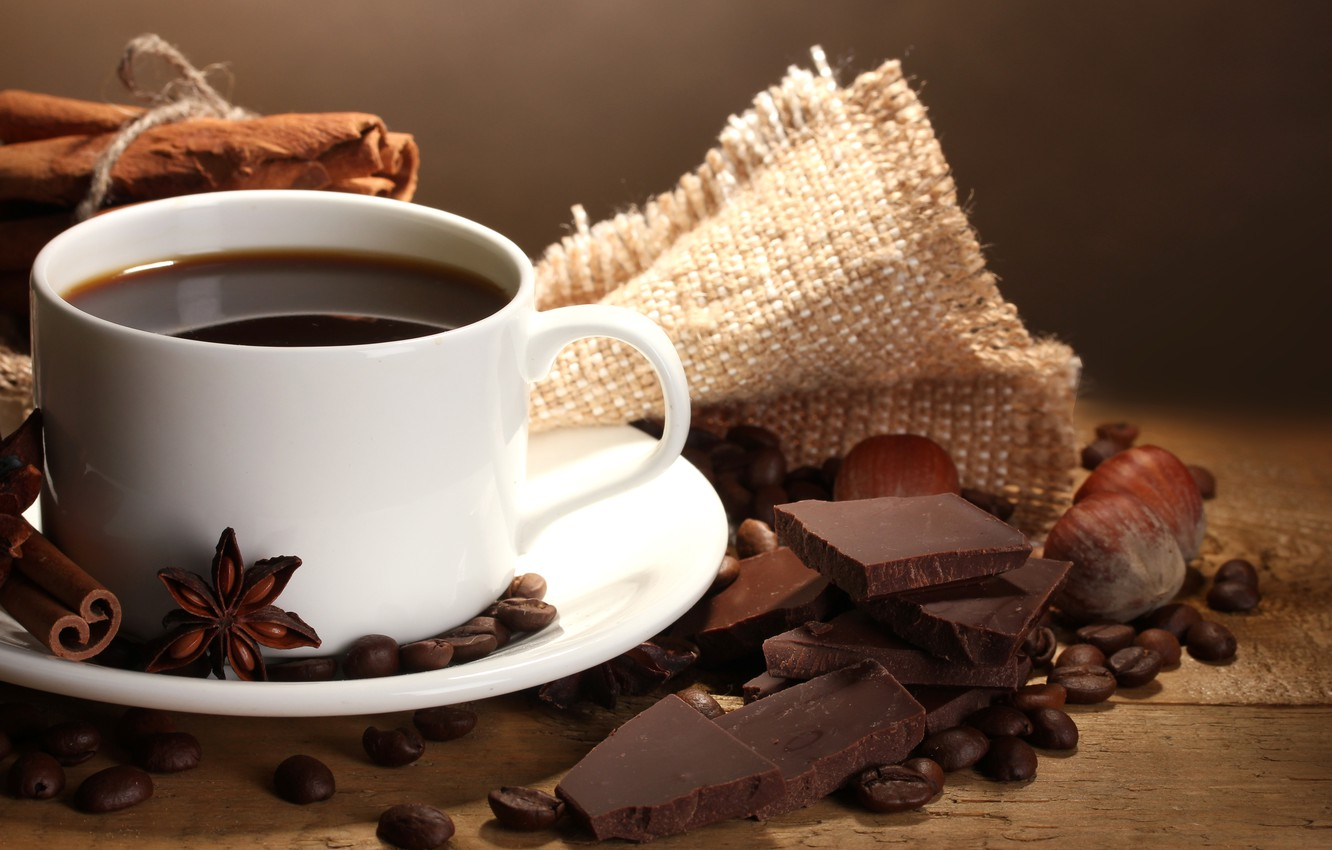 Photo wallpaper coffee, chocolate, grain, Cup, nuts, cinnamon, coffee, spices, Anis