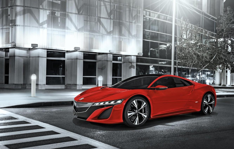 Photo wallpaper Red, Honda, Car, Acura, NSX, 2014