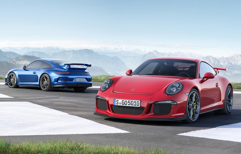 Photo wallpaper 911, Porsche, red, GT3, 2013