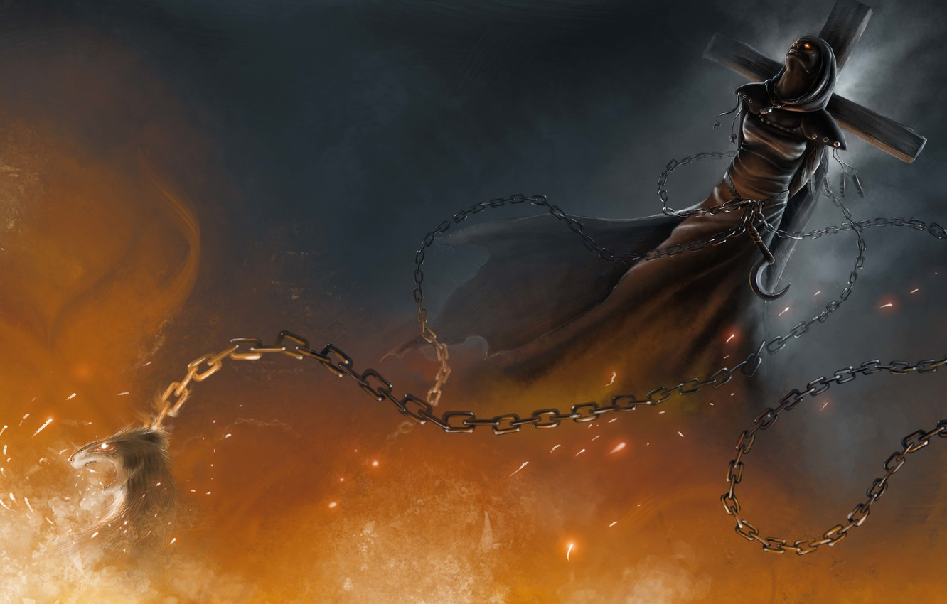 Photo wallpaper fire, death, witch, chains