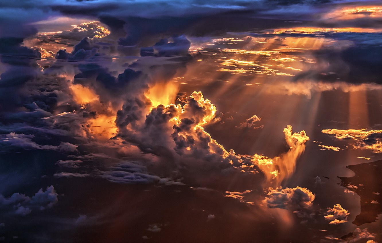 Photo wallpaper the sky, light, clouds, nature