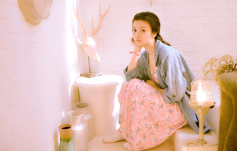 Photo wallpaper sadness, girl, mood, Asian