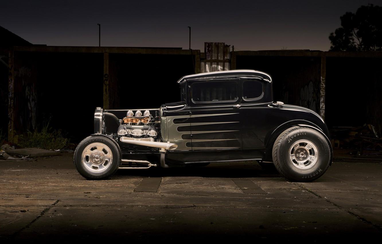 Photo wallpaper car, black, hot rod