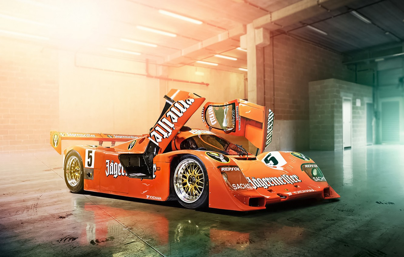Photo wallpaper The Mans, Porsche, Orange, Cars, Day, Track, 956