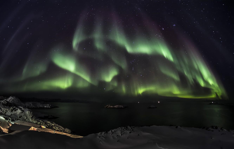 Photo wallpaper stars, snow, night, green, the ocean, Northern lights, Aurora Borealis