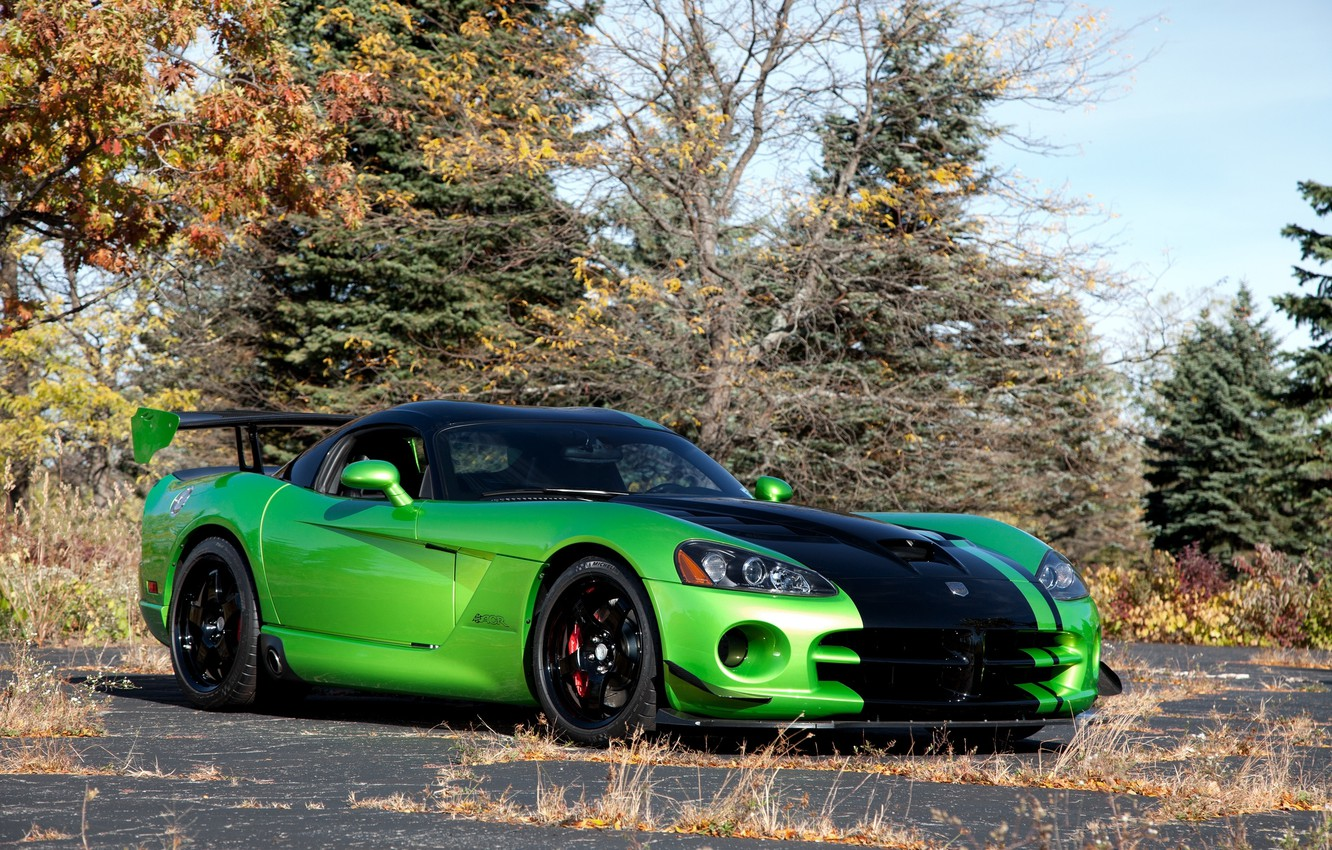 Photo wallpaper autumn, trees, green, green, Dodge, Viper, Dodge, Viper, front view, trees, ACR Snakeskin Edition