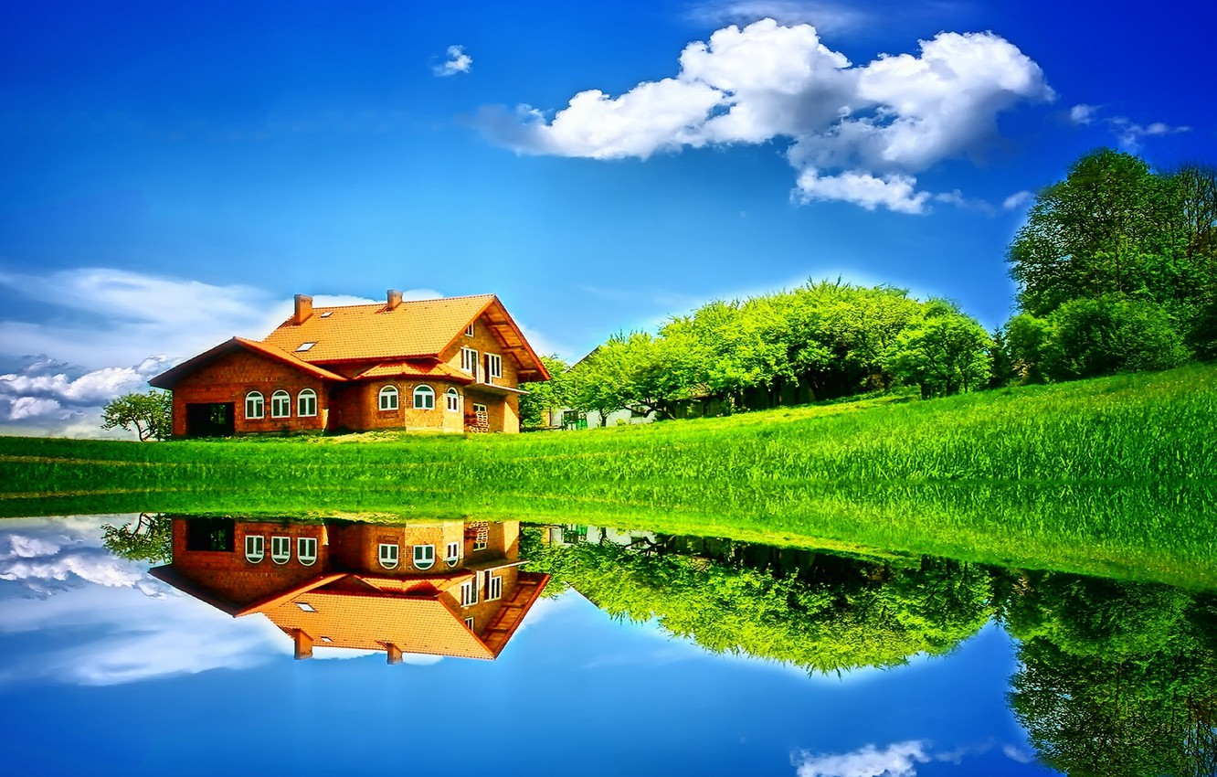 Photo wallpaper field, summer, the sky, grass, water, clouds, trees, nature, lake, house, reflection, tree, meadow, house, ...