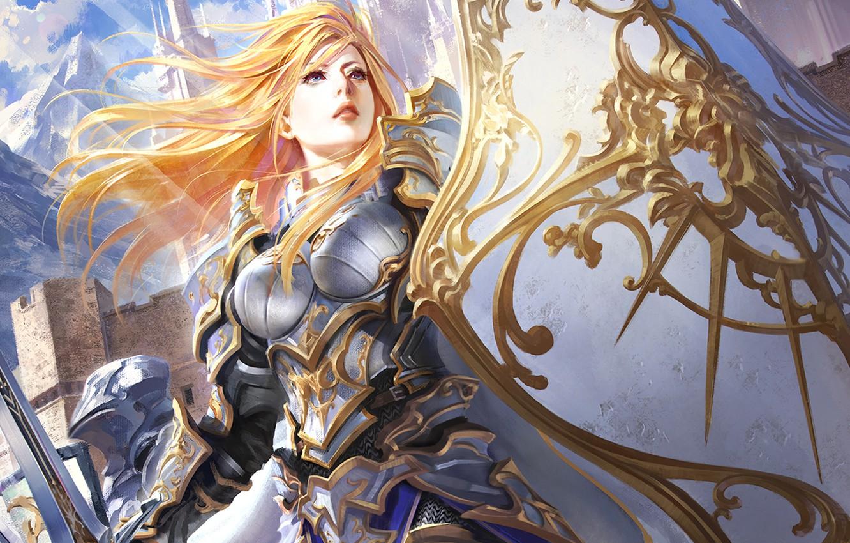 Photo wallpaper Girl, sword, armor, shield
