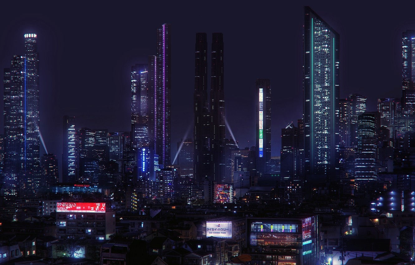 Photo wallpaper future, night city, Cyberpunk, Jonathan Lucero, Scemestry City