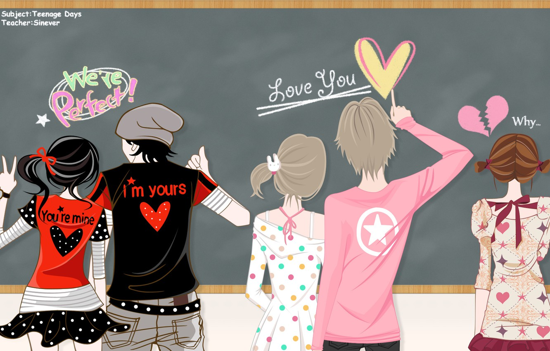 Photo wallpaper girls, star, anime, art, hearts, guys, bow, pair, el-zheng