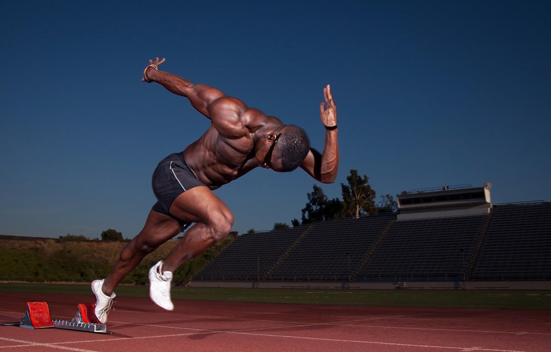 Photo wallpaper start, muscle, runner, stadium, athlete, biceps