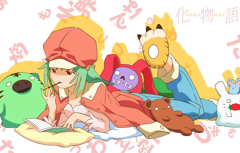 Photo wallpaper characters, pillow, cap, pajamas, bakemonogatari, plush toy, sengoku nadeko, history of monsters