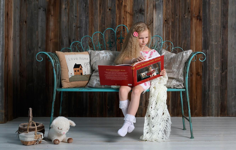 Photo wallpaper toy, girl, album, book