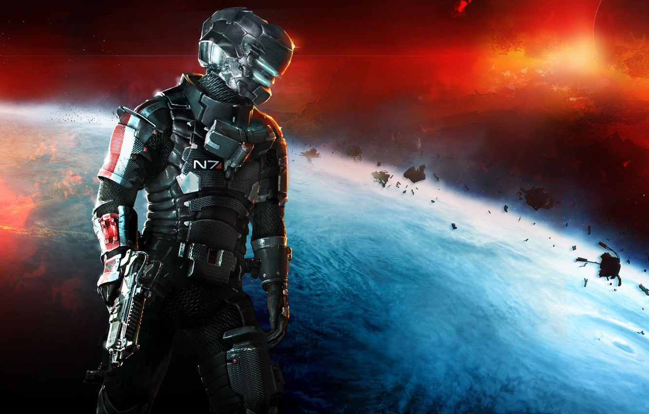 Photo wallpaper space, weapons, planet, Isaac Clarke, Mass Effect 3, Electronic Arts, DLC, Dead Space 3, Isaac …